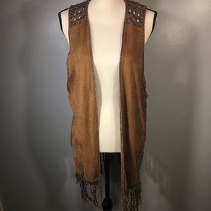 Maurices Faux Suede Fringe Sleeveless Vest Size L